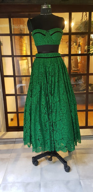 Vintage lace emerald crop and skirt set