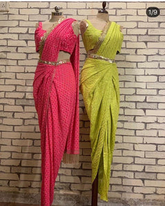 Label D Lime Green  Drape Saree