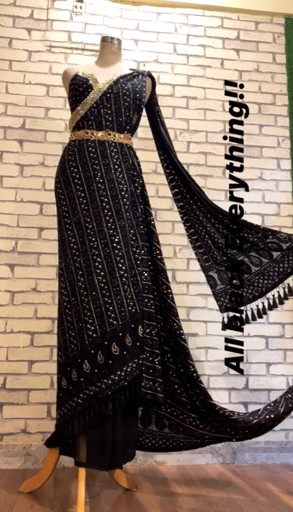 Label D Double Drape Black  Saree