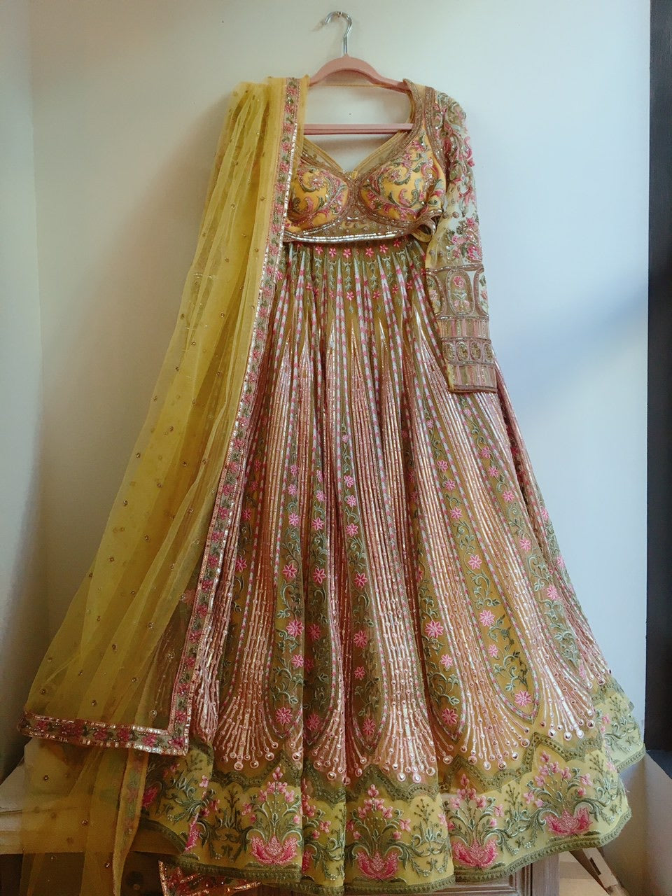 Falguni Shane Peacock Lemon Multi-color  Lehenga