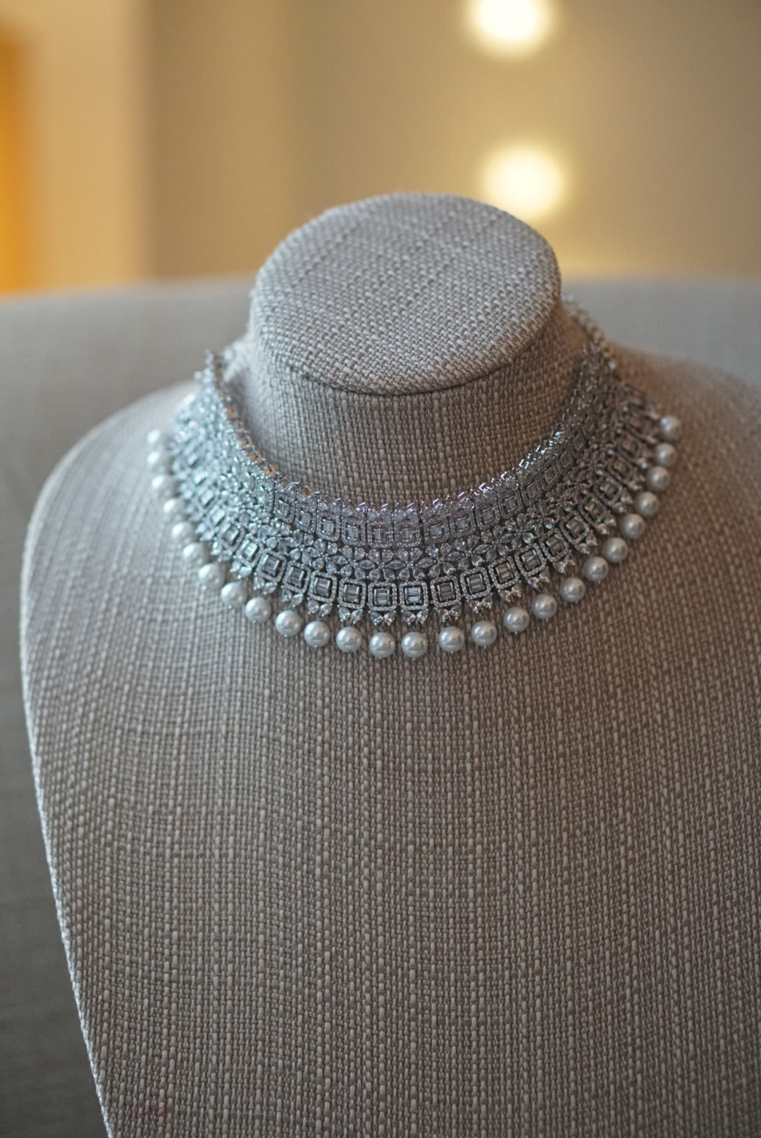 ReeMat Pearl & Faux Diamond Choker Set