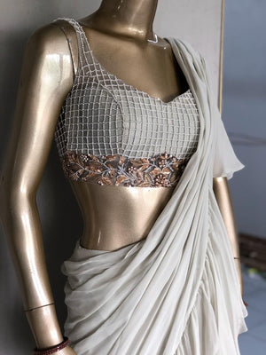 The French Darjee Ruffle Saree