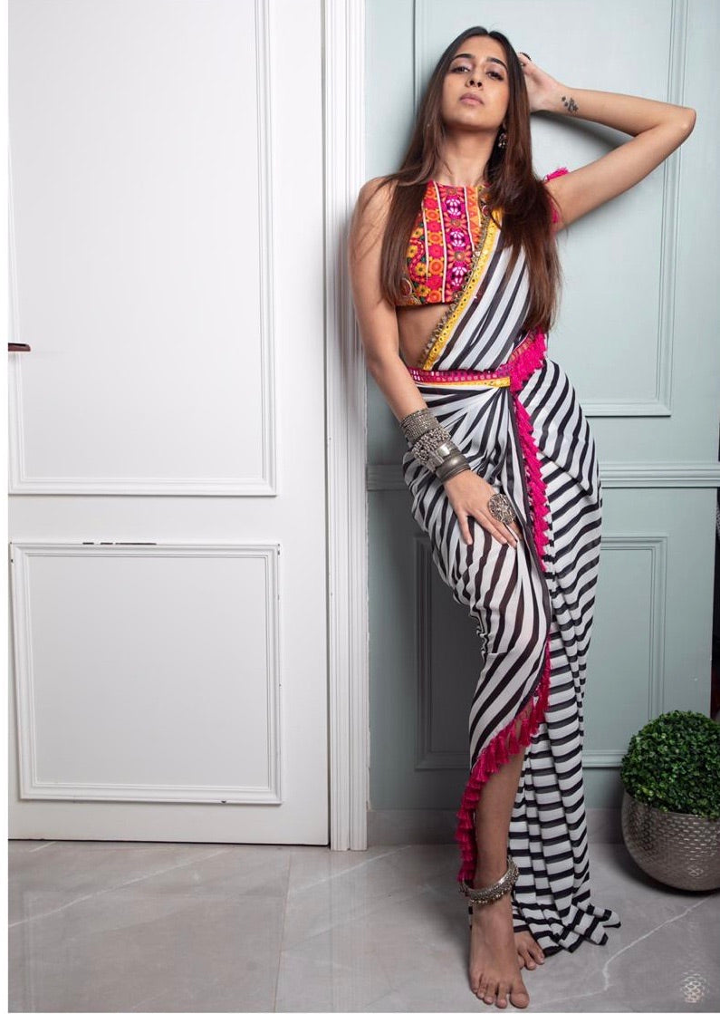 Label D Black White Stripe Drape Saree