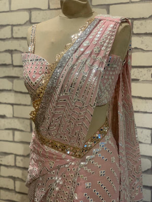 Label D Blush Pink Silver Foil  Drape Saree
