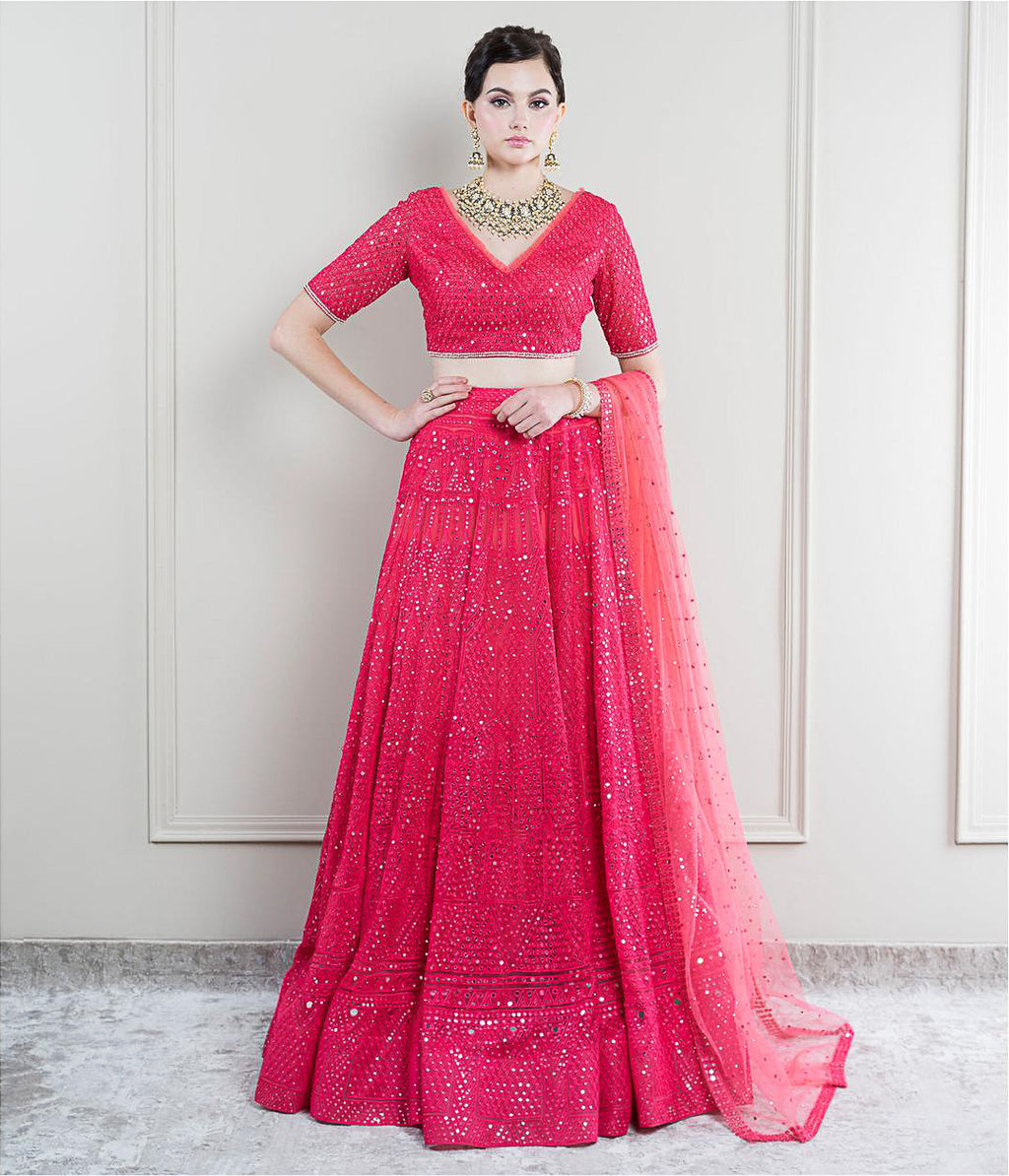 Tomato Red  Mirror work Lehenga