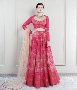 True Red on Nude Lehenga