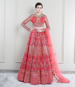 True Red with Gold Foil Lehenga