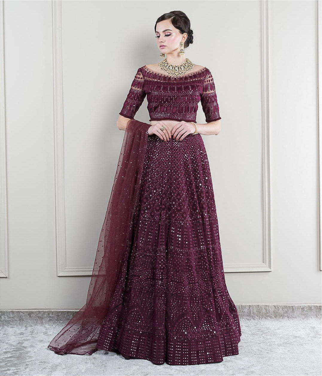 Bordeaux Mirror work Lehenga