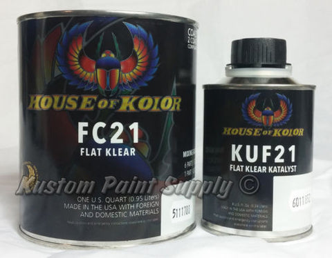 Flat Clear FC21 Quart Kit House of Kolor FC21 - Kustom Paint Supply