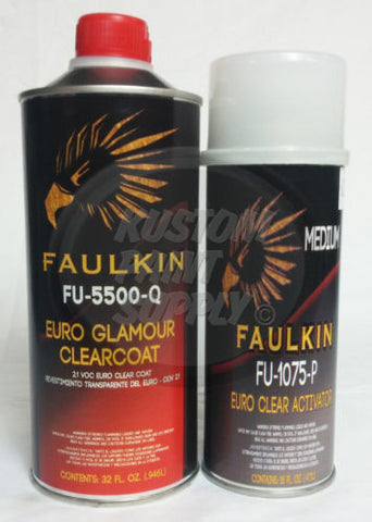 Faulkin Euro Glamour Clearcoat Quart Kit 2.1 V.O.C. - Kustom Paint Supply