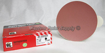 INDASA 240 Grit 6'' Sticky Back DA Sandpaper Rhynostick 600-240 (100 Sheets/Box)