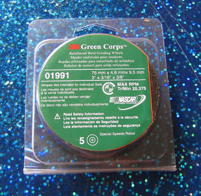 "1 Pk (5 Each) - 3M - 3"" x 3/16"" x 3/8"" Green Corps Cut-Off Wheel 01991 - Kustom Paint Supply"