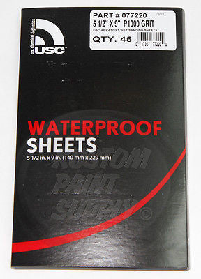 "1000 Grit Wet Sanding Sheets 5 1/2"" x 9"" Abrasives - Kustom Paint Supply"
