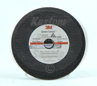 "3M 01987  3"" x 1/32"" x 3/8"" Green Corps Cut-Off Wheel - Kustom Paint Supply"