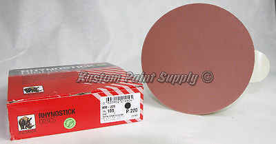 INDASA 220 Grit 6'' Sticky Back DA Sandpaper Rhynostick 600-220 (100 Sheets/Box)