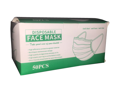 Disposable Face Masks Box of 50 PPE Anti Dust / Anti Haze / Anti Virus - Kustom Paint Supply