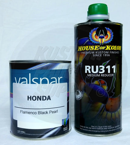 Honda FLAMENCO BLACK PEARL Basecoat Paint & Reducer 1 Quart Kit NH592P