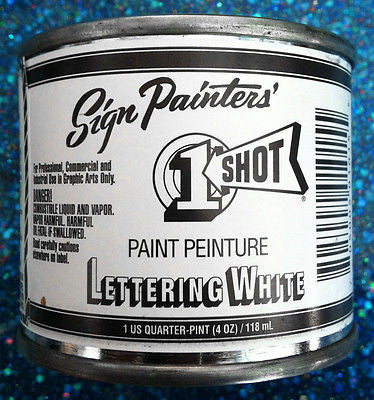 1 Shot Lettering White 1/4 Pint - 101L-QP - Kustom Paint Supply