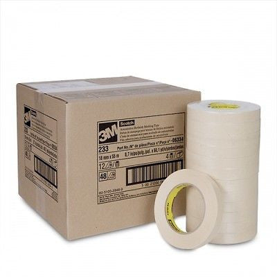3M 06334  3/4'' Scotch Automotive Refinish Masking Tape 233  1 Case/48 Rolls - Kustom Paint Supply