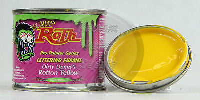 1/4 Pint - Lil' Daddy Roth Pinstriping Enamel - Dirty Donny's Rotton Yellow - Kustom Paint Supply