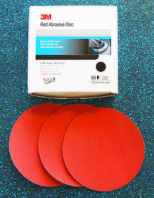 "3M 01219 P320A Grit Hookit 6"" Red Abrasive Discs - 1 Box (50 sheets) - Kustom Paint Supply"