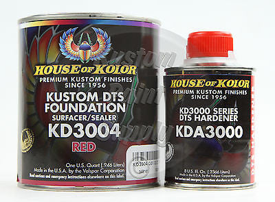 House Kolor KD3004 Red DTS Epoxy Surfacer Sealer  1Qt Kit