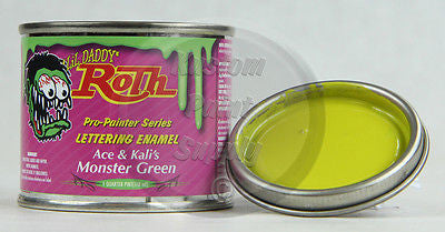 1/4 Pint - Lil' Daddy Roth Pinstriping Enamel - Ace & Kali's Monster Green - Kustom Paint Supply