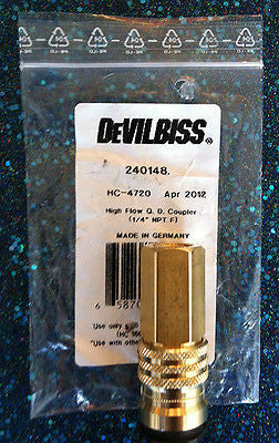 "DeVILBISS 240148 1/4"" Quick Disconnect Coupler F HC-4720 - Kustom Paint Supply"