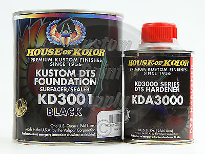 House Kolor KD3001 Black DTS Epoxy Surfacer Sealer  1Qt Kit