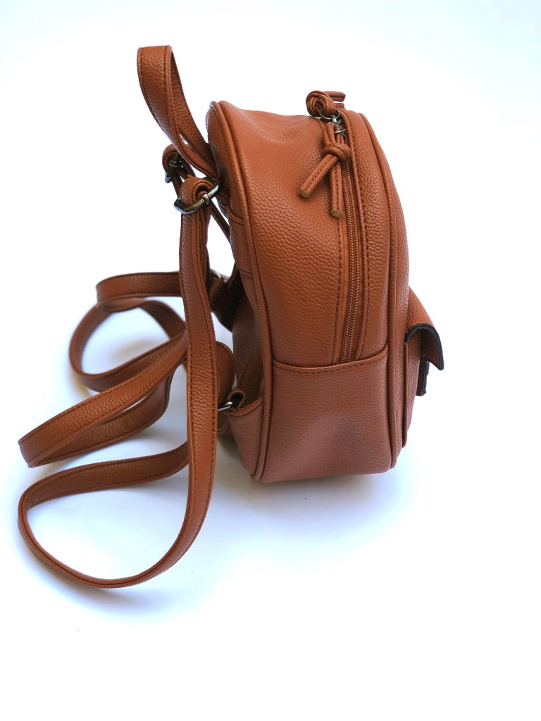 Sample #12: Mini Brown Faux Leather Backpack