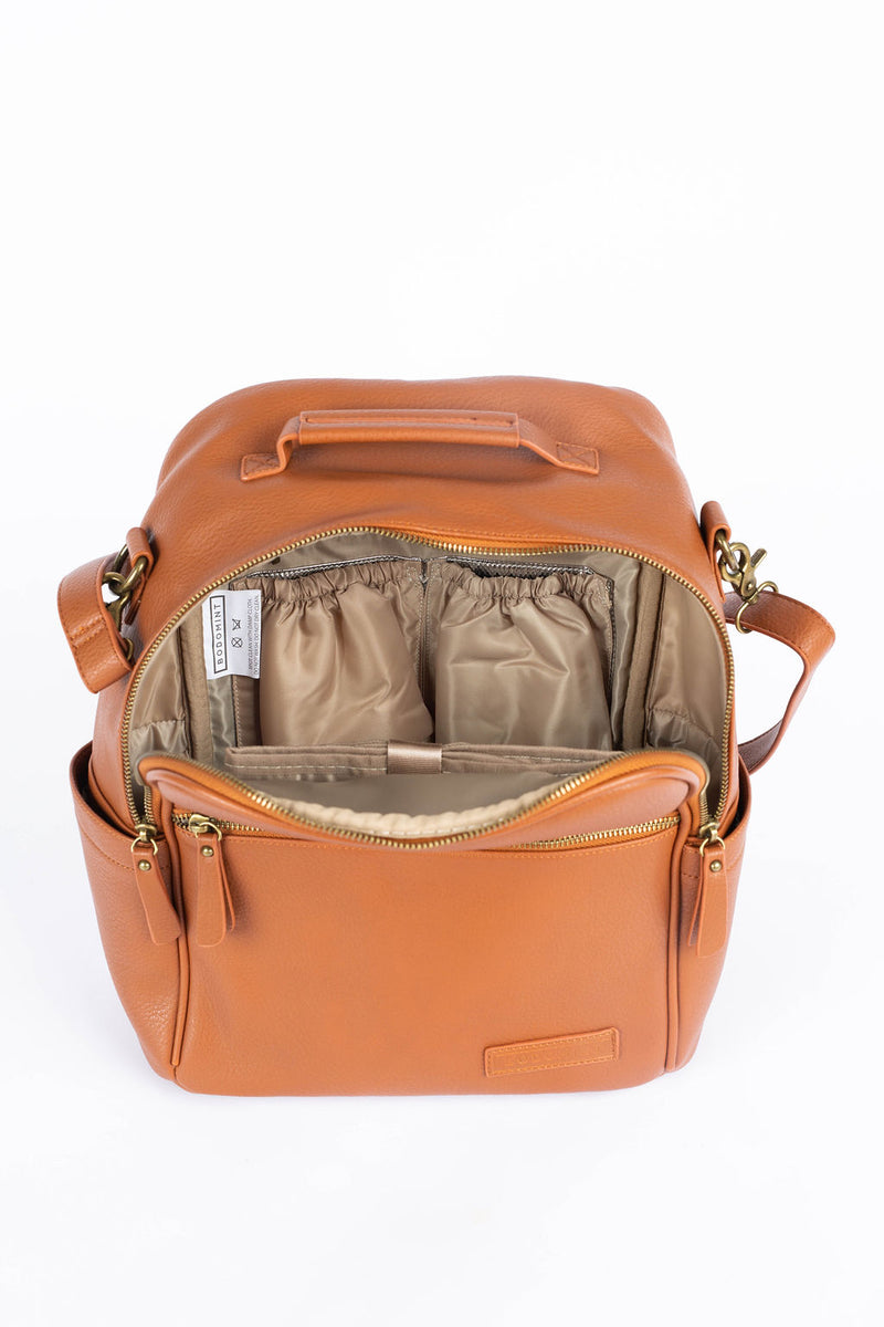 Brown Vegan Leather Diaper Bag Backpack