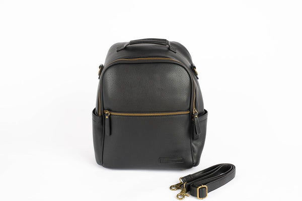 Black Vegan Leather Diaper Bag Backpack