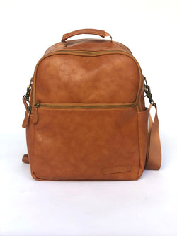 Sample #8: Brown Vegan Leather Backpack