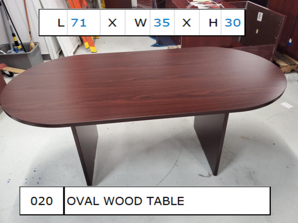 Oval Wood Table 71x35x30