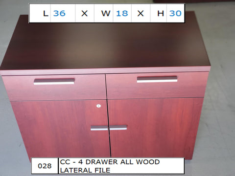 4 Drawer All Wood Lateral File 36x18x30