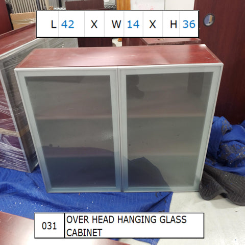 Overhead Hanging Glass Cabinet 42x14x36