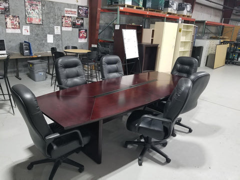 Large Conference Table & 6 Leather Chairs