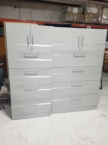 Large Metal Silver Filing Cabinets (x2)