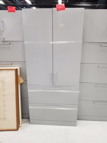 Grey Cabinet with 2 Drawer Lateral File Cabinet