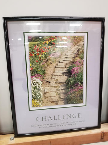trail with stone steps and flowers on each side Challenge quote under picture