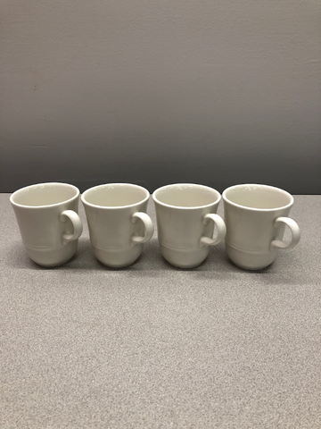 Four White Ceramic Mugs