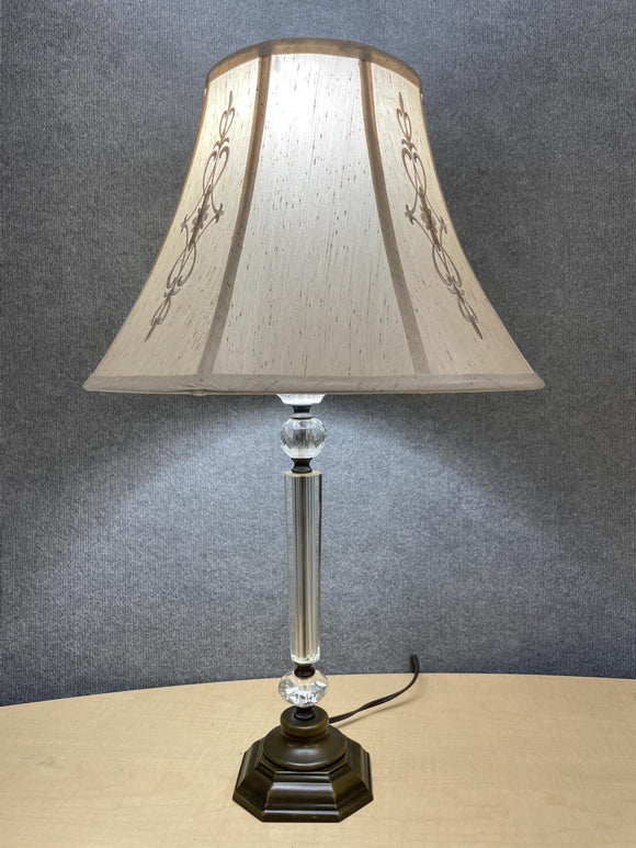 Crystal stem lamp with decorative shade