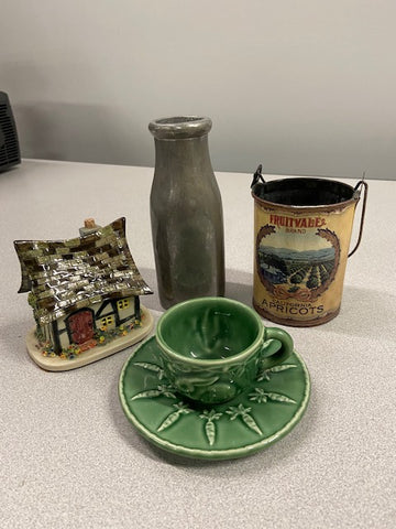 Small Cottage, Silver Milk Jug, Antique Apricot Can with Handle, Green tea cup with bunny and saucer with carrots