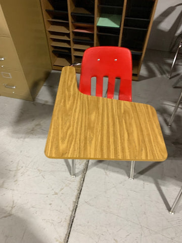 Student classroom chairs with attached desk