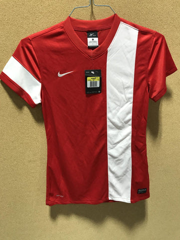 NIKE V-Neck Strip Short Sleeve Dri-Fit (Red/White)