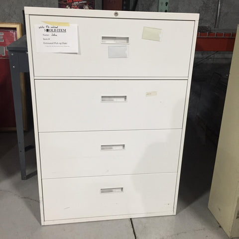 White 4 drawer lateral file cabinet