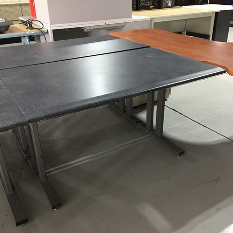 Grey table with metal base