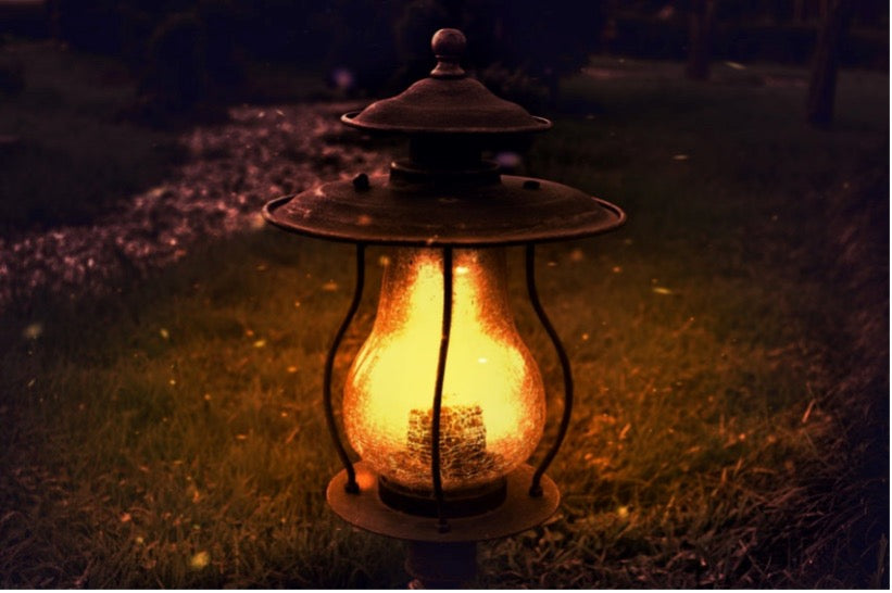 A light lantern on the ground in the dark with a flame attracting bugs.