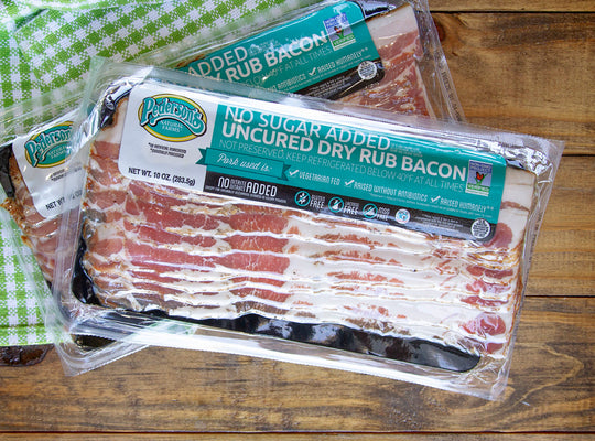 No Sugar Added Uncured Dry Rub Bacon, Non GMO Project Verified
