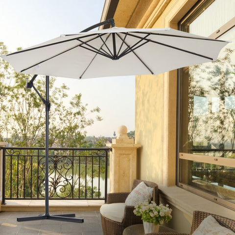 Patio Sunshade Banana Hanging Umbrella - Beige